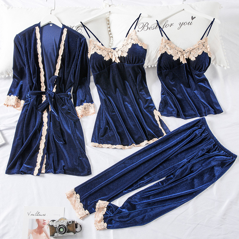 4PCS Pajams Set Young Lady Velour Sleepwear Intimate Lingerie Casual Sleep Set Lace Autumn Winter Velvet Nightwear Home Clothing