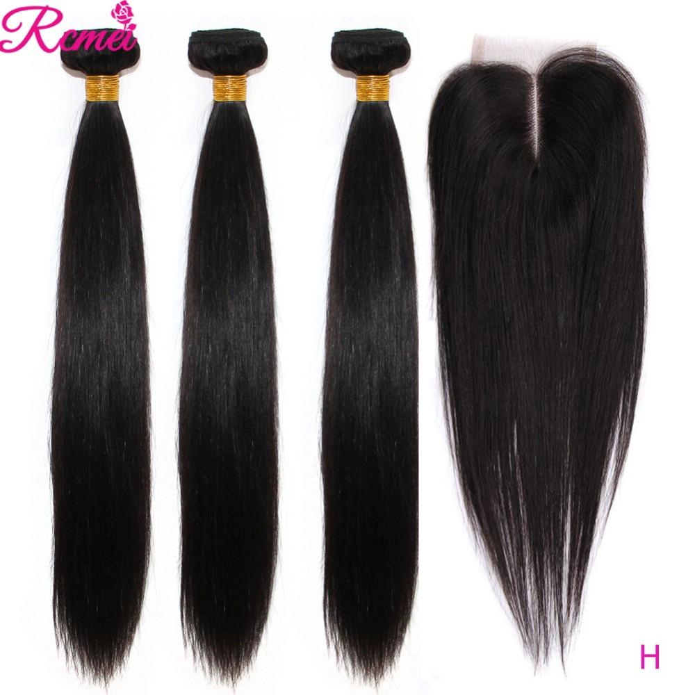 Brazilian 36 38 40 Straight Human Hair Weave Bundles With Closure Long 3 Bundles With Lace Closure 4*4  Remy Human Hair Bundles