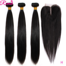 Tissage en lot brésilien Remy naturel lisse avec Lace Closure | Cheveux longs, 36 38 40, 4*4, lots de 3(China)