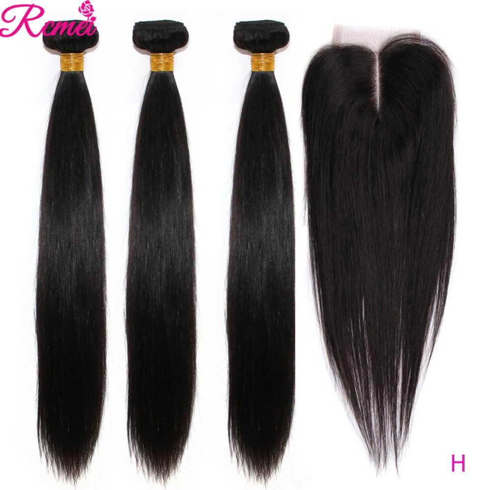 Cabelo humano brasileiro liso, 36 38 40 pacotes de cabelo humano com fecho longo 3 pacotes com fecho de renda 4*4 pacotes de cabelo humano remy