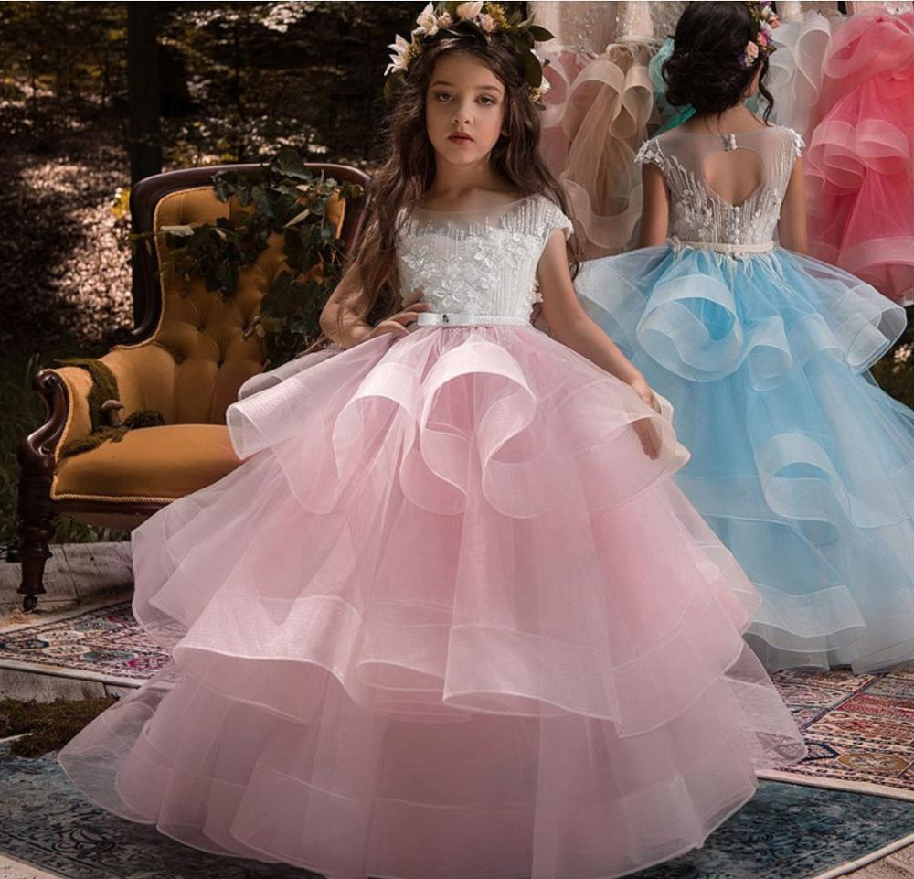 Flower Girls Dress Stitch Beads Applique Lace Hosted Performance Birthday Costume Bridesmaid Party Princess Kids Dresses vestido