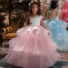 Flower Girls Dress Stitch Beads Applique Lace Hosted Performance Birthday Costum