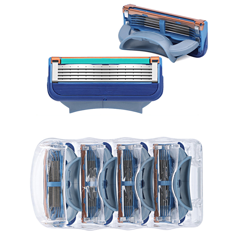 4pcs / Lot Professional Shaving 5-layer Razor Blade For Safe And Comfortable For Gillettee Fusione Men's Facials