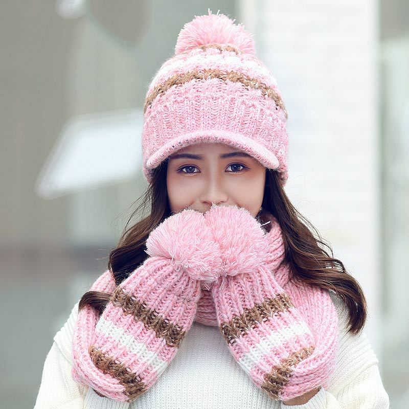 Wool Kitted Winter Women Hat And Scarf Glove Set For Women Classic Thicken Hats And Scarves Winter Warm Bonnet Beanie Caps Warm