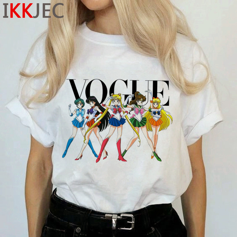 Kawaii Sailor Moon Funny Cartoon T Shirts Women Harajuku Ullzang Cute T-shirt Usagi Graphic Tshirts Korean Style Top Tees Female 17