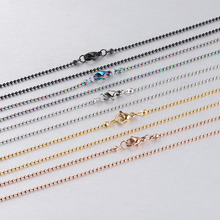 2pcs/lot 316L 1.5mm Stainless Steel Bead Ball Chains Bead Chain with Lobster Clasps Fit DIY Necklace Jewelry Making 45cm Length