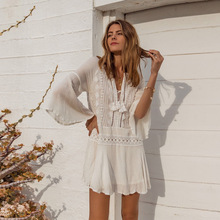 Cover ups Chiffon Lace Beach up Tunic for Swimsuit cover Kaftan Sarong Pareo de Plage wear Women Top