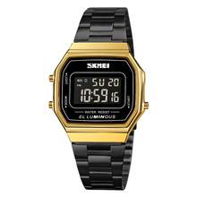 SKMEI – montre-bracelet de Sport pour hommes, carré, tendance, en acier inoxydable, 12/24 heures, or, noir, numérique, 1647