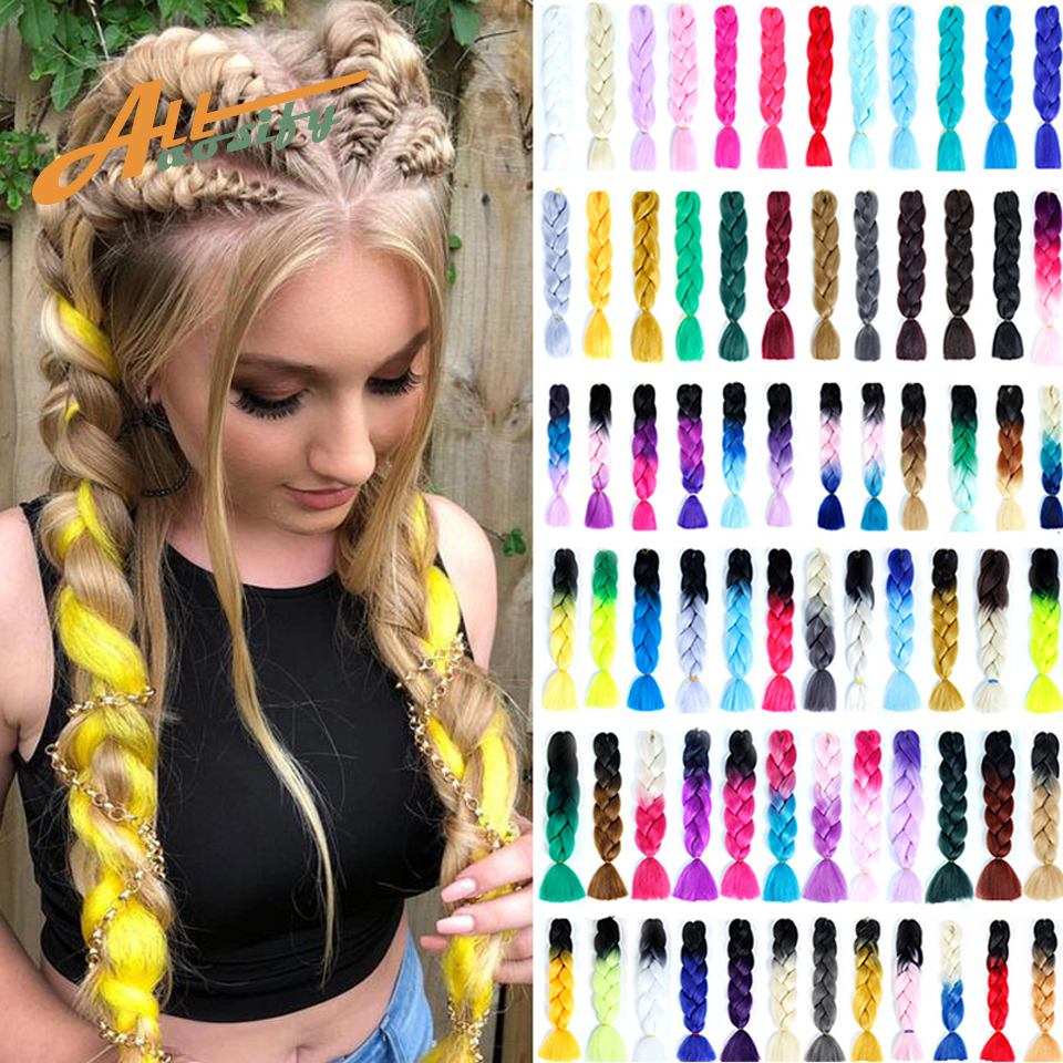 Allaosify 24 Inch Braiding Hair Extensions Jumbo Crochet Braids Synthetic Hair Style 100g/Pc Blonde Pink Green Ombre Braiding