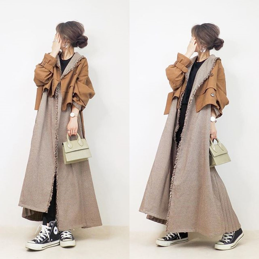 Women Harajuku Mid-length Trench Coat Japan Korea Style Loose Chic Trendy Fashion Casual Spring Autumn Female Fake Two OverCoat