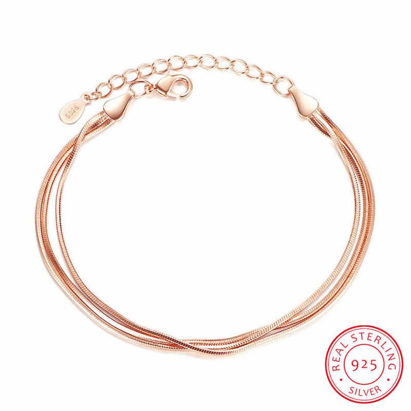 リアルピュア 925 スターリングシルバーフラットスネークチェーンブレスレット女性ローズゴールドリストバンド腕章女性ブレスレットファム銀色 SB014