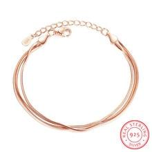 Women Bracelet Armband Rose-Gold 925-Sterling-Silver Argent Real Flat-Snake-Chain Female