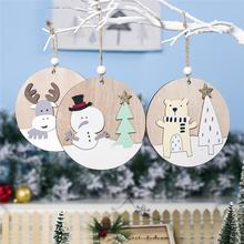 New Year Christmas Decorations For Home DIY tree doors and windows Small tag 2020 Xmas Elk wooden round pendant 1pcs
