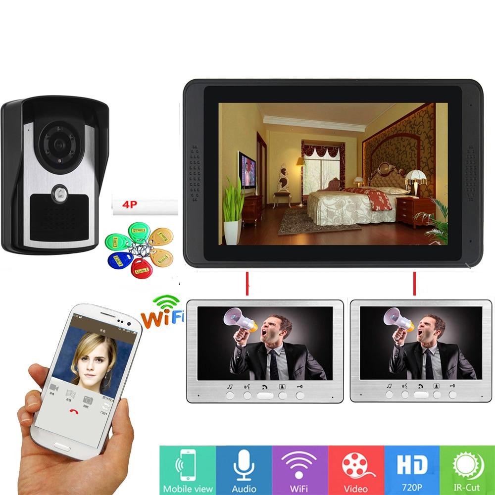 APP Control RFID Unlock Door 7 inch Monitor Wifi Wireless Video Door Phone Doorbell Visual Speakerphone Intercom Camera System|Video Intercom| |  - title=