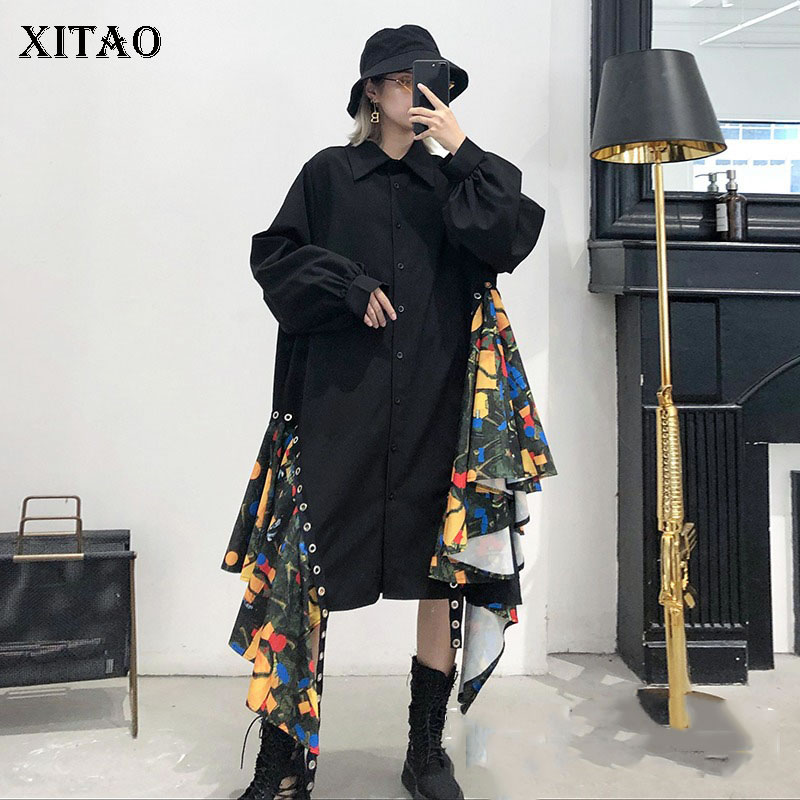 XITAO robe de grande taille irrégulière femmes corée mode nouveau Patchwork col rabattu lanterne manches élégant tenue décontractée GCC1530