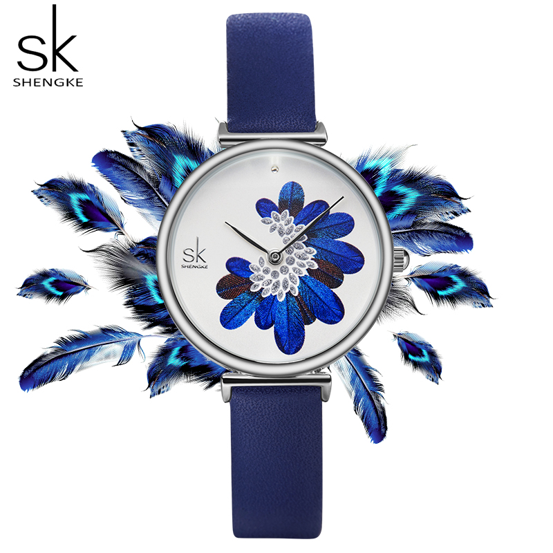 Shengke Women Watches Top Brand Luxury Leather Strap Wristwatch For Women Blue Feather Clock Stylish Quartz Ladies Watch