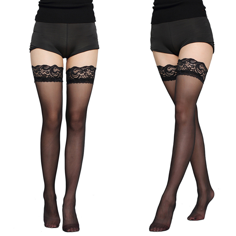 Sexy Designer Lace Fish Net Thigh High Knee Stockings Women Transparent High Elastic Stockings Nylon Lace Style Temptation Nylon