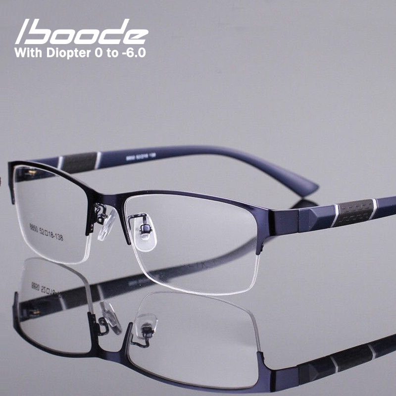 Iboode Half Frame Men Business Finished Myopia Glasses Metal Retro Anti Blue Light Myopia Eyewear Frame Women Diopter 0 -1.0~6.0