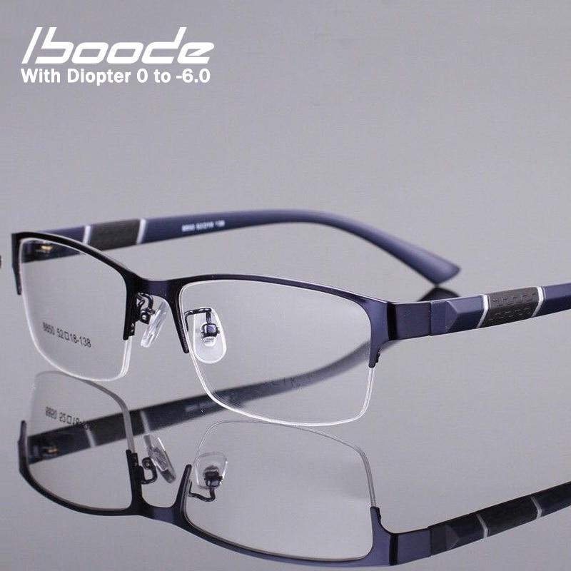 Iboode Half Frame Men Business Finished Myopia Glasses Metal Retro Anti Blue Light Myopia Eyewear Frame Women Diopter 0 -1.0~6.0