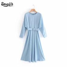 2019 autumn dress women england elegant sky blue tencel with sashes full sleeve length vintage o-neck grace and lively