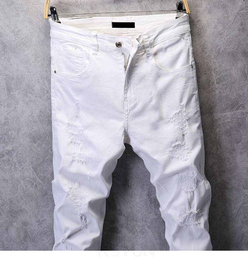 Ripped Jeans for Men Skinny White Jeans Stretch Denim Pants Jeans Mens Jeans Brand Streetwear Biker