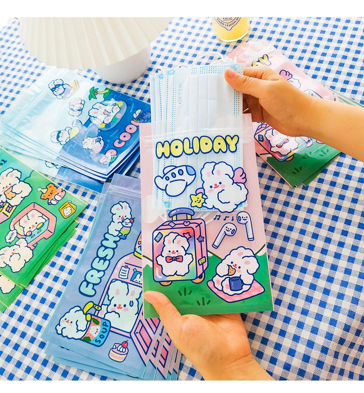 4pcs Rabbit Printed Disposable Mask Storage Box Cartoon Portable PVC Mask Clips Case Foldable Recycling Face Mask Holder(China)
