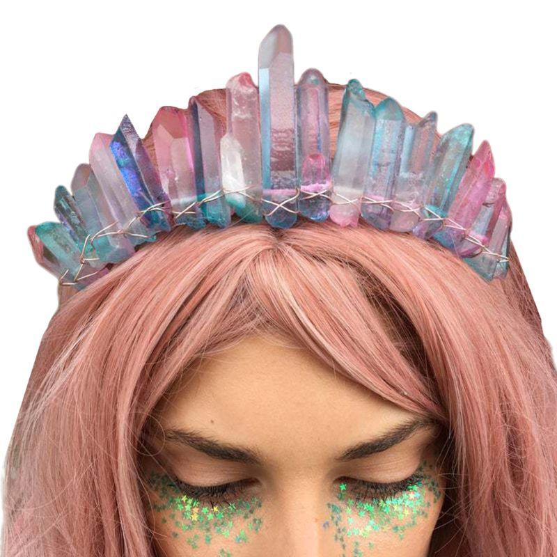 Boho Artesanal Tiara Nupcial Coroa Falso Raw Cristal Arco-íris Colorido Aura Bandana 2020