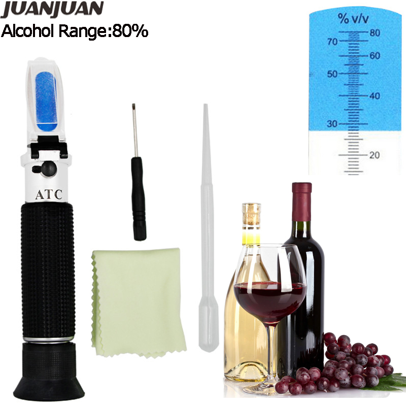 Portable Hand Held 0-80% Alcoholometer Alcohol Refractometer Liquor Alcohol Content Tester With ATC Wine Measure Tool  39%off