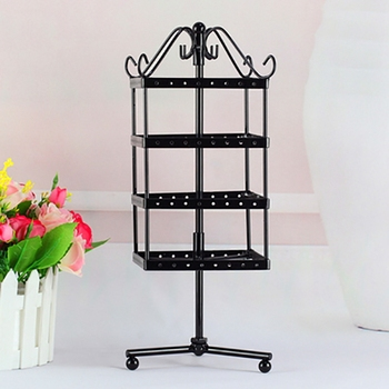 4-Layer 128-Hole Creative Square Rotating Earring Frame Display Rack Tower Iron Earring Storage Rack Rotating Jewelry Rack Hangi image