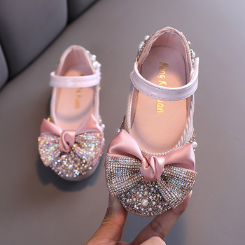 Children Leather Shoes Rhinestone Bow Princess Girls Party Dance 1