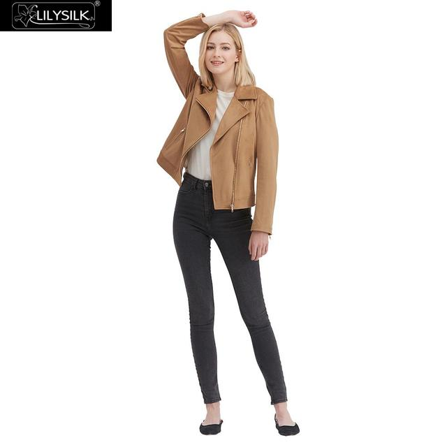 LilySilk מעיל Moto האופנה זמש נשים חדש משלוח חינם