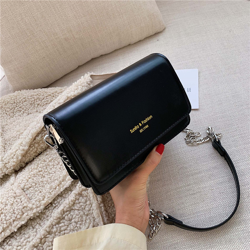 Online Celebrity Small Black Bag Women's 2019 Fashion Korean-style New Style WOMEN'S Bag Retro CHIC Shoulder Bag Casual Chain Ob