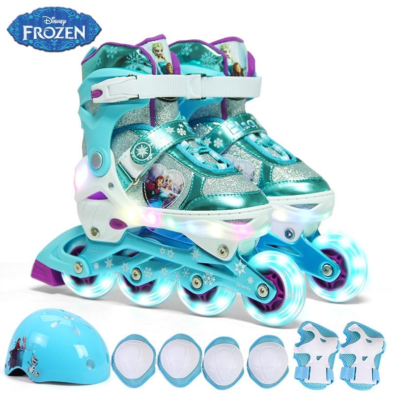 Children Shoes Rollers Inline Skate Roller Skating Shoes Helmet Knee Protector Gear Adjustable Washable Hard Wheels Skate Shoes