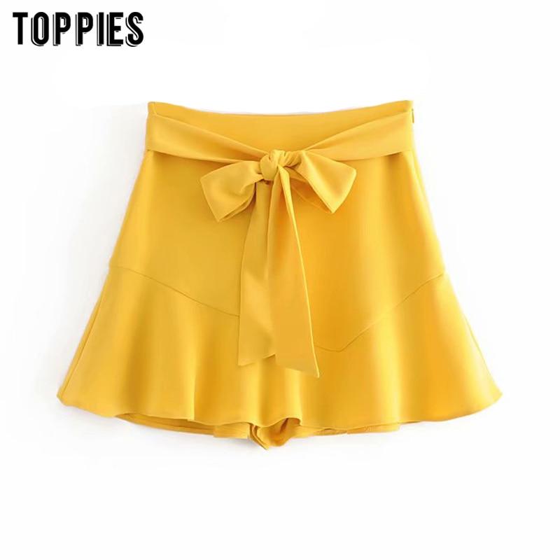 2020 Fashion Yellow Shorts Skirts Womens High Waist Shorts Lace Up Waist Wide Leg Bottoms Ladies Streetwear