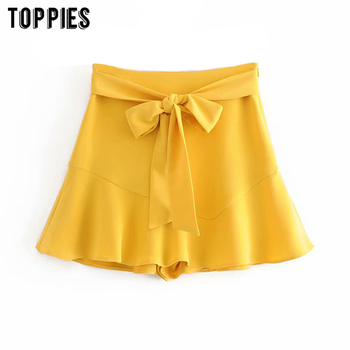 2020 Fashion Yellow Shorts Skirts Womens High Waist Shorts Lace Up Waist Wide Leg Bottoms Ladies Streetwear