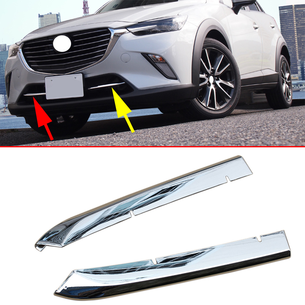 Chrome Front Grille Grill Cover Stripes Trim Fit For <font><b>Mazda</b></font> <font><b>CX3</b></font> CX-3 DK 2016 2017 2018 <font><b>2019</b></font> Accessories Exterior Molding image