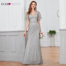 Блестящие вечерние платья Русалочки, длинные элегантные вечерние платья с блестками и v образным вырезом, с коротким рукавом, Vestidos Largos Fiesta