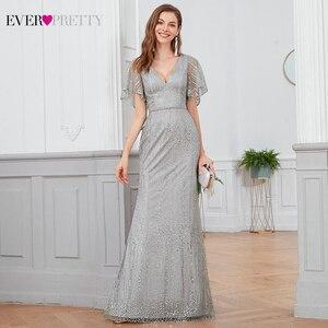Image 1 - Sparkle Mermaid Evening Dresses Long Ever Pretty Sequined V Neck Short Sleeve Elegant Formal Party Gowns Vestidos Largos Fiesta