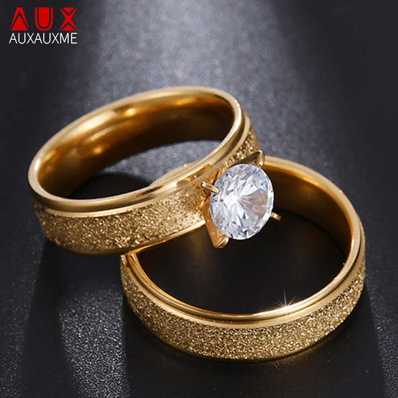 Auxauxme Bling Cubic Zircon Engagement Rings for Couples Gold Titanium Steel Romantic Wedding Ring Women Men Jewelry