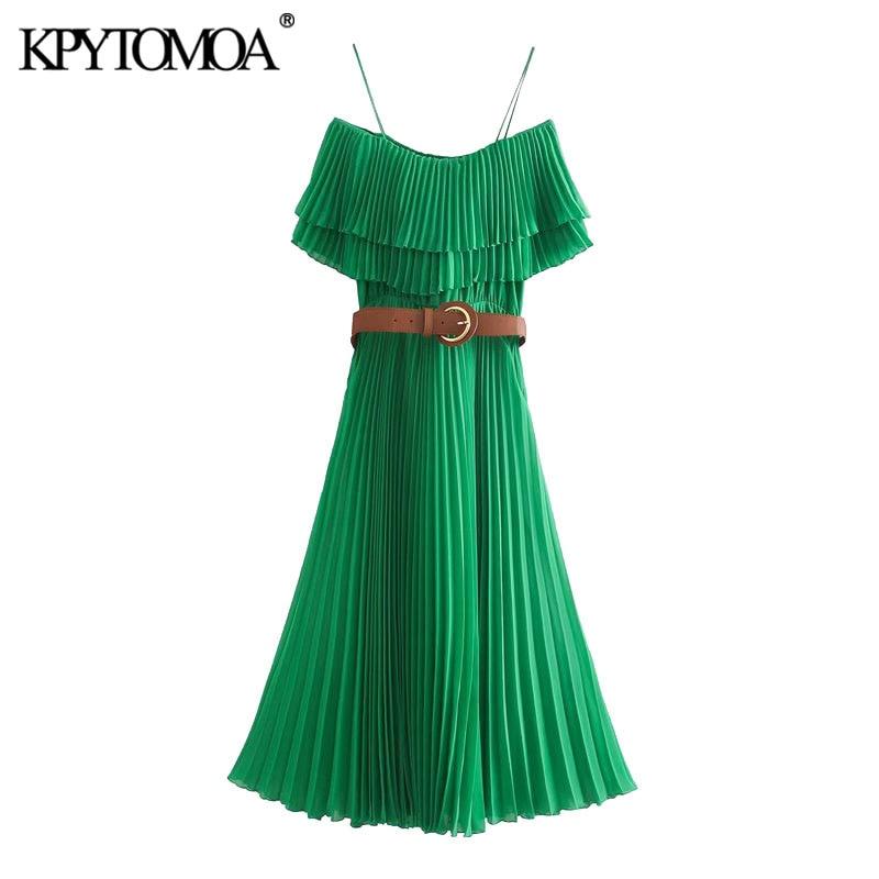 KPYTOMOA Women 2020 Chic Fashion With Belt Ruffles Pleated Midi Dress Vintage Elastic Waist Thin Straps Female Dresses Vestidos