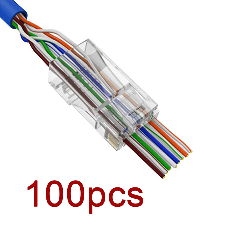 New Hot 100 PCS 8P8C EZ RJ45 Connector Cat6 RJ 45 UTP Ethernet Cable Plug RG45 Cat5e 8P8C Cat 6 Network Unshielded Cat5 Terminal