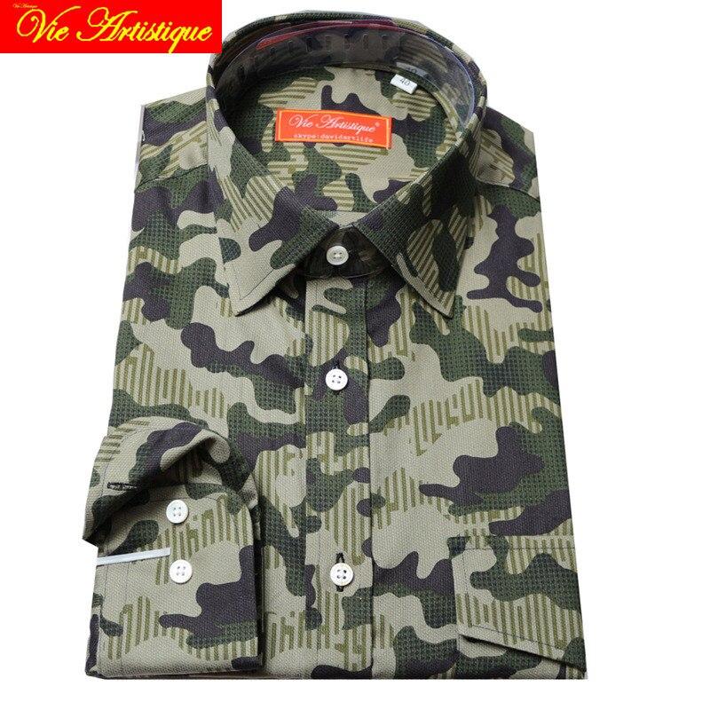 Sur mesure Pour Hommes sur mesure chemises florale coton formel d'affaires de mariage articles blouse camouflage vert armée fleur de mode