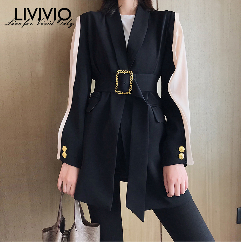 [LIVIVIO] Elegant Women's Blazer Patchwork Long Sleeve Tunic With Belt Waisted Autumn Long Blazers Female 2019 Fashion Clothing