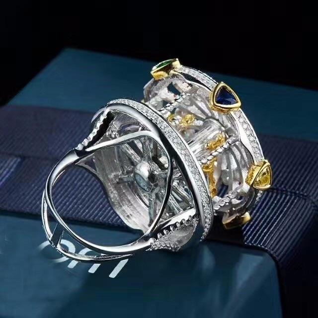 Créateur de mode 925 bijoux en argent Sterling 3A cubique zircone fête anneau manège design pour les femmes - 4