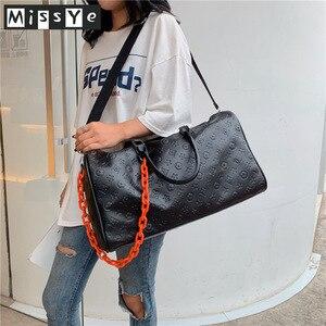 Unisex PU leather travel bag female portable large capacity lightweight luggage bag embossed duffle bag сумка дорожная сумка
