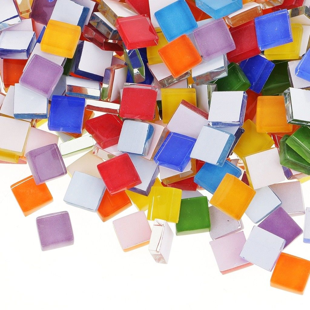 100g//200g Glitter Colored Glass Mosaic Tiles Puzzle Mosaic DIY Art Crafts