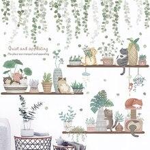 Adesivos de parede de plantas em vaso, 24 estilos, para sala de estar, quarto, varanda, cozinha, diy, vinil, autoadesivo, decalques de parede, plantas mural de parede