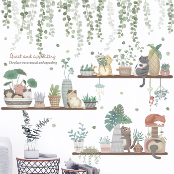 24 style Potted plants Wall Stickers for Living room Bedroom Porch Kitchen DIY Vinyl Self-adhesive Wall Decals Plants Wall Mural