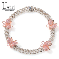 Uwin 12mm Cuban Pink Butterfly Necklace Rose Gold Chain CZ Luxury Necklace Bling Bling Hip Hop Jewelry For Men Women Gift