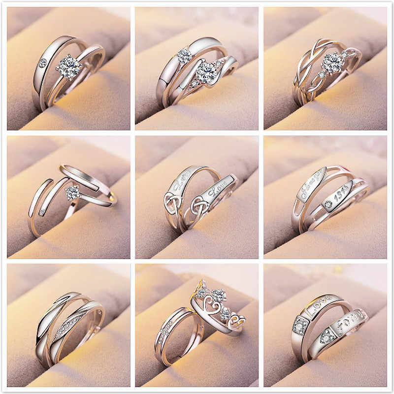 1 Set Sell Adjustable Lovers Zircon Engagement Rings for Women Fashion Silver Color Wedding Rings Austrian Crystals Jewelry